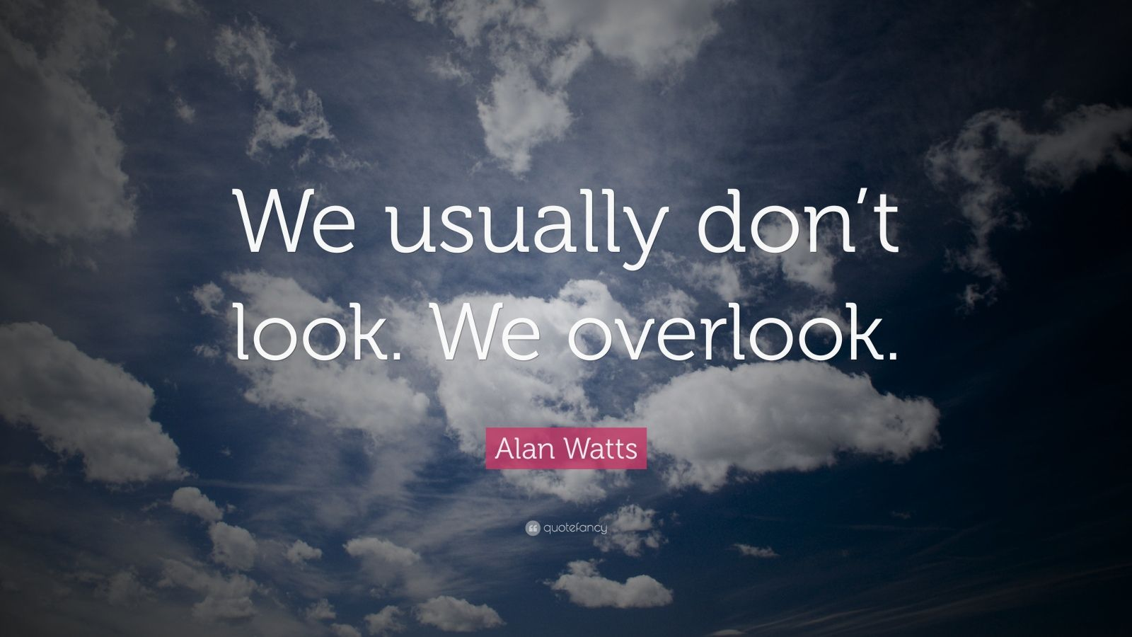 "Alan Watts Quote: ""We usually don't look. We overlook."""