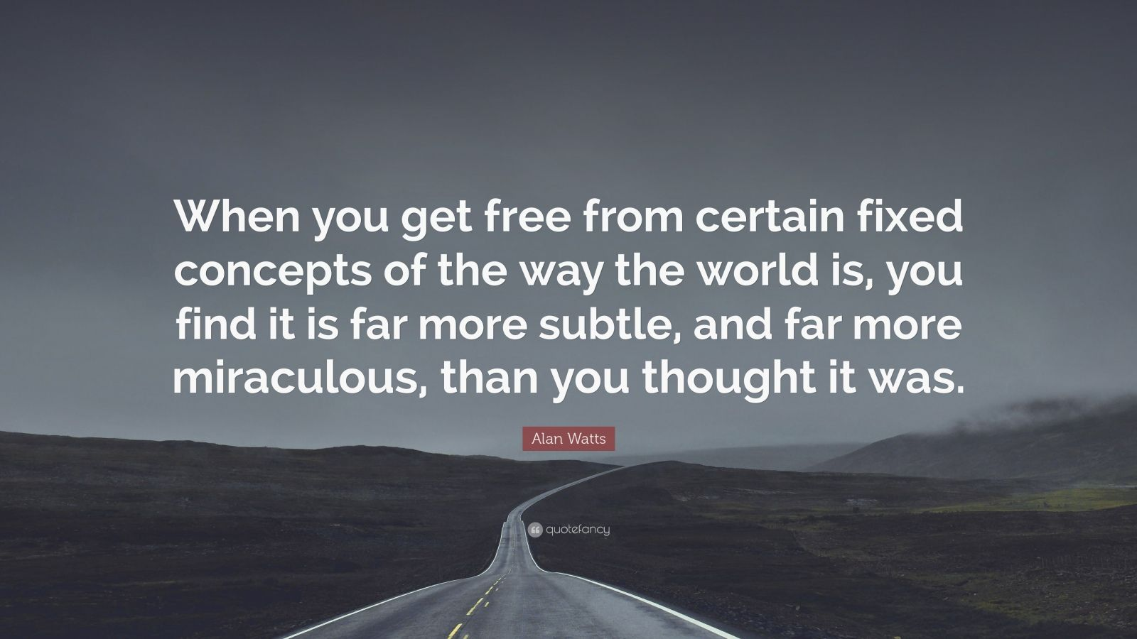"Alan Watts Quote: ""When you get free from certain fixed concepts of the way the world is, you find it is far more subtle, and far more miraculous, than you thought it was."""
