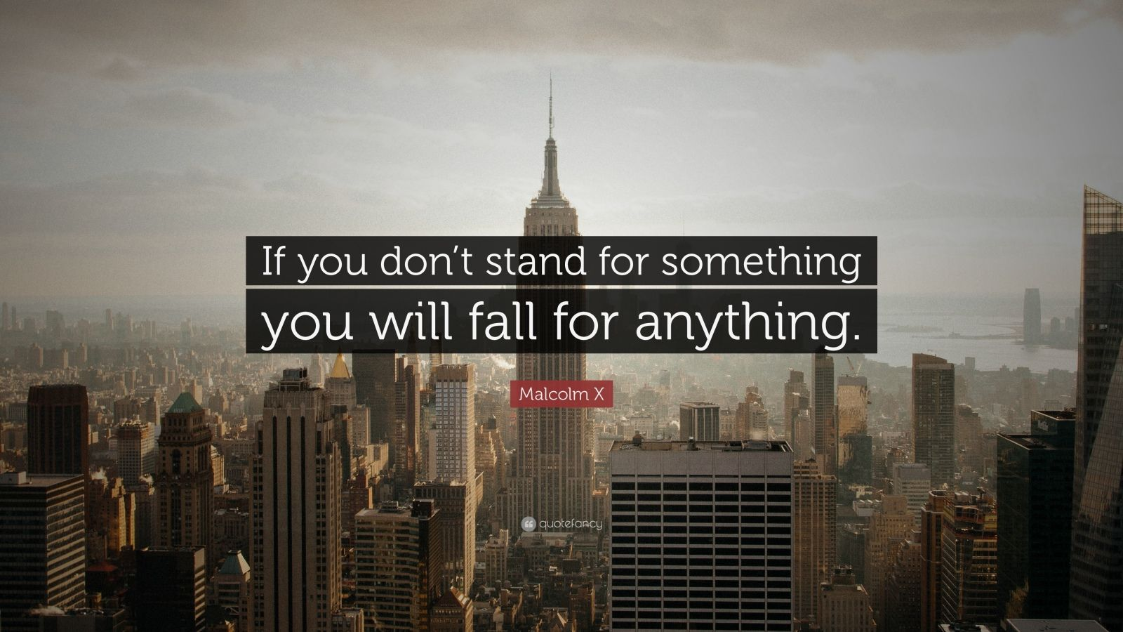 "Malcolm X Quote: ""If you don't stand for something you will fall for anything."""