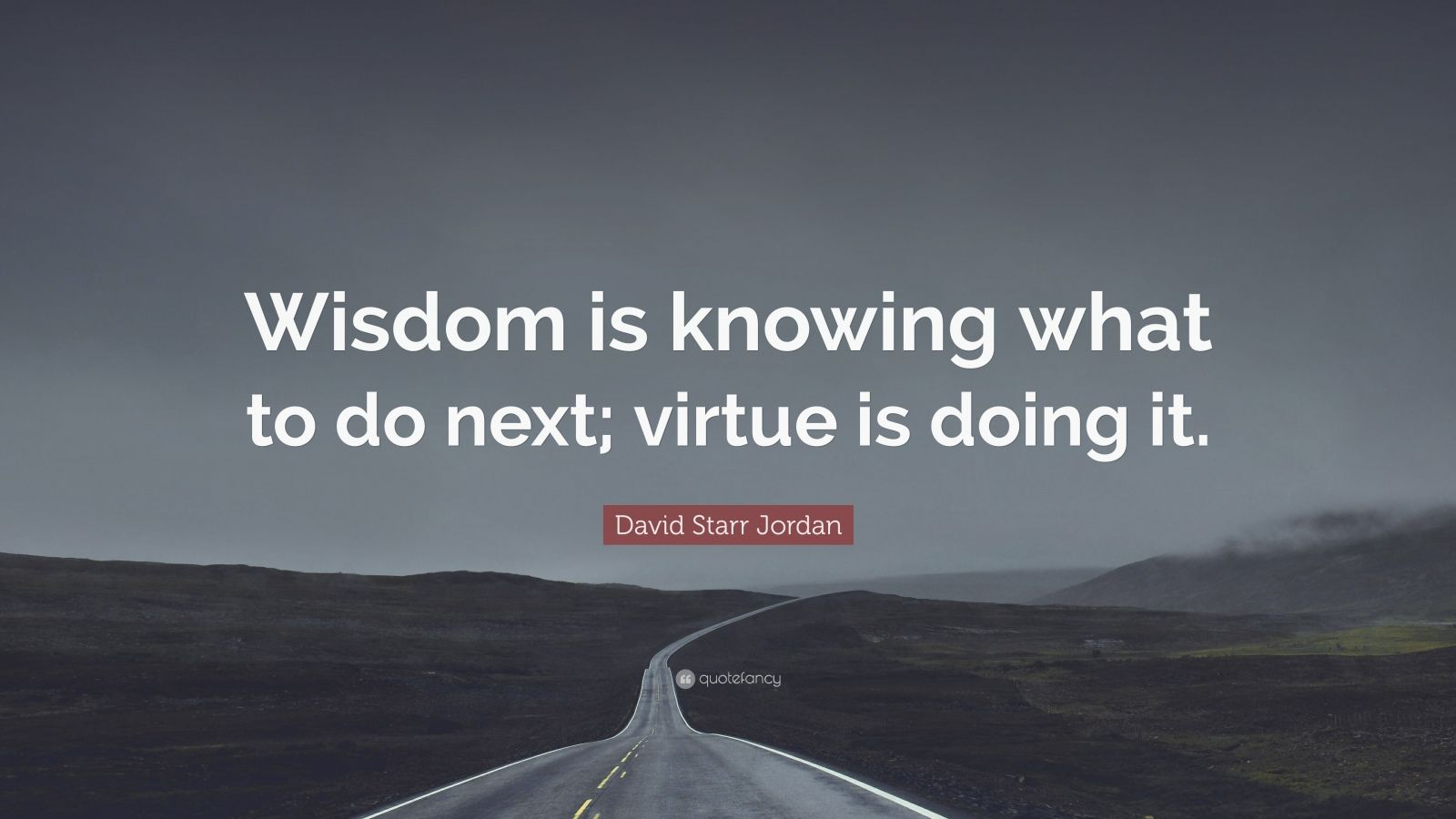 "David Starr Jordan Quote: ""Wisdom is knowing what to do next; virtue is doing it."""