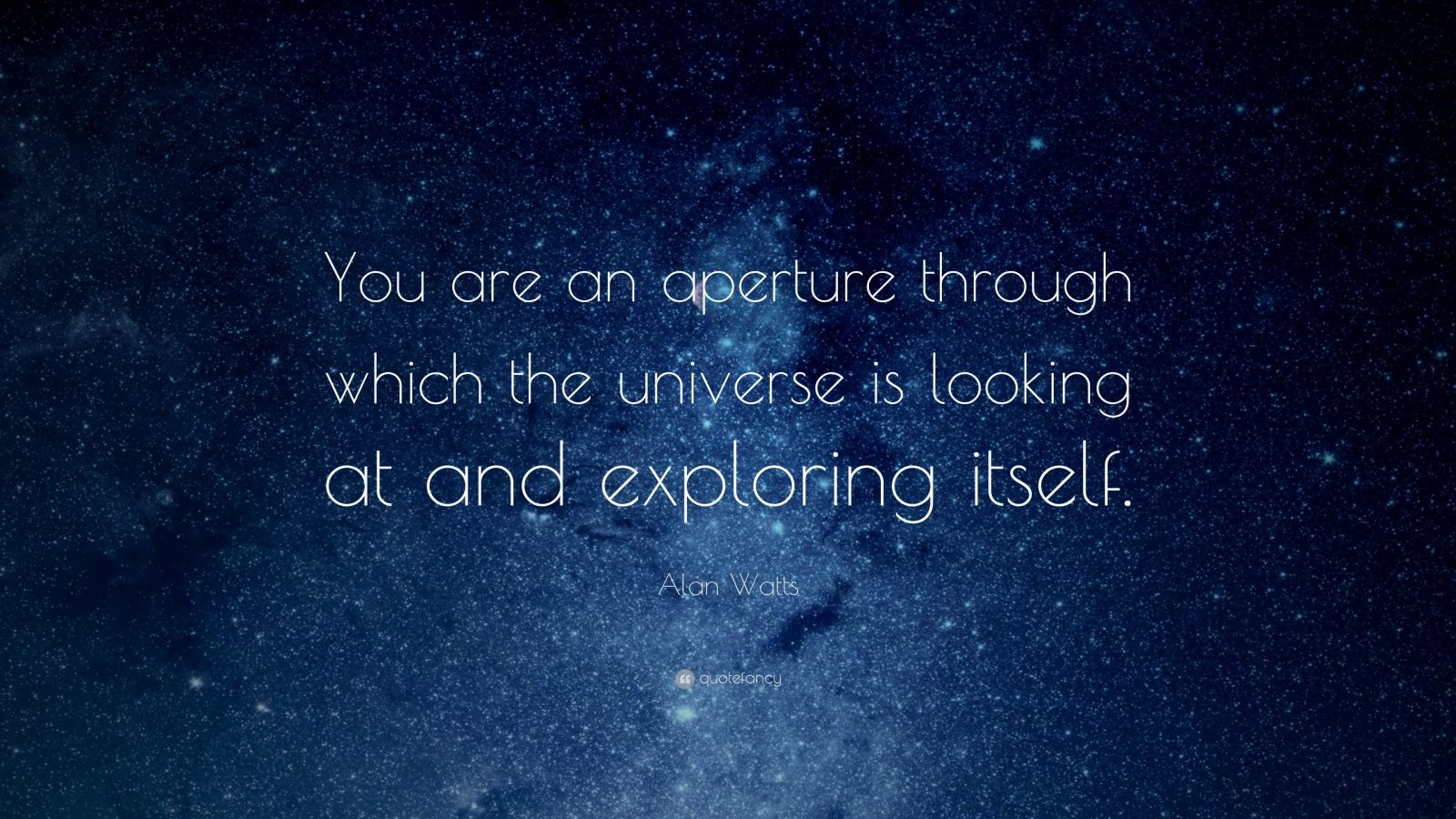 """Alan Watts Quote: """"You are an aperture through which the universe is looking at and exploring itself."""""""