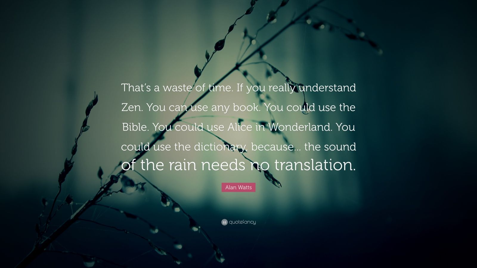 """Alan Watts Quote: """"That's a waste of time. If you really understand Zen. You can use any book. You could use the Bible. You could use Alice in Wonderland. You could use the dictionary, because... the sound of the rain needs no translation."""""""