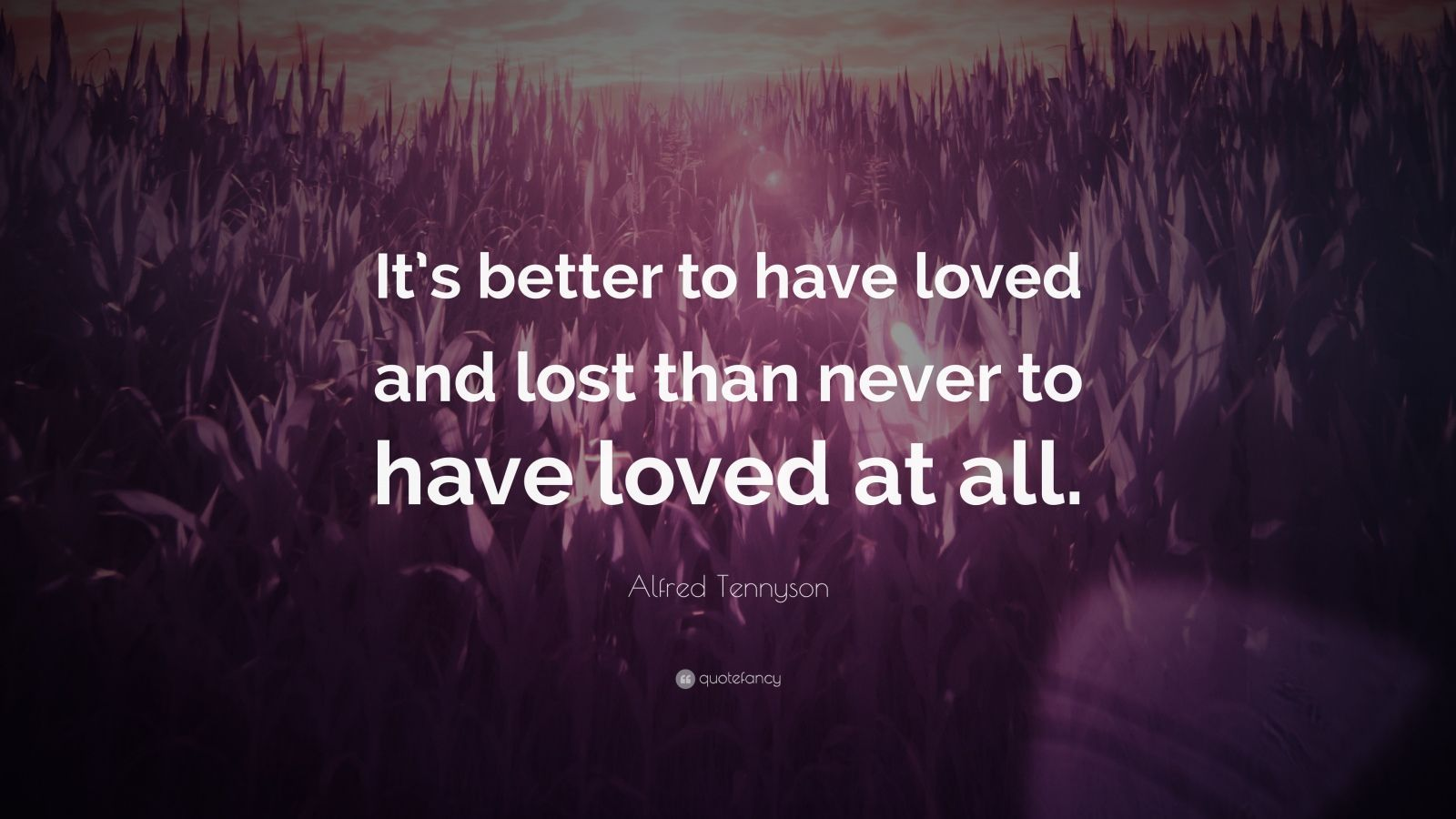"Alfred Tennyson Quote ""It s better to have loved and lost than never to have"