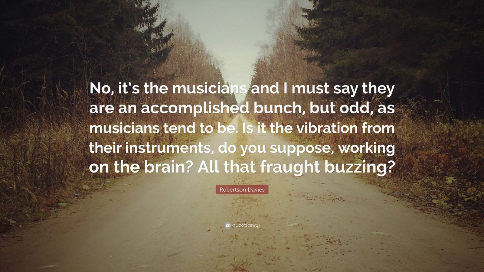 "Robertson Davies Quote: ""No, it's the musicians and I must say they are an accomplished bunch, but odd, as musicians tend to be. Is it the vibration from their instruments, do you suppose, working on the brain? All that fraught buzzing?"""