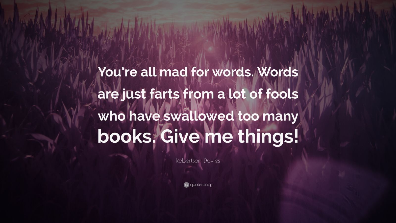 "Robertson Davies Quote: ""You're all mad for words. Words are just farts from a lot of fools who have swallowed too many books. Give me things!"""