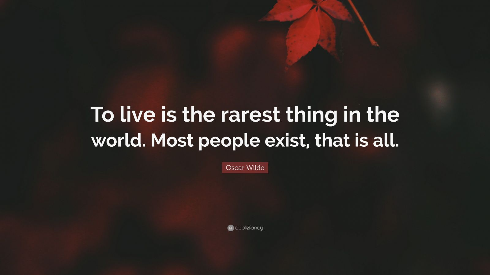 "Oscar Wilde Quote: ""To live is the rarest thing in the world. Most people exist, that is all."""