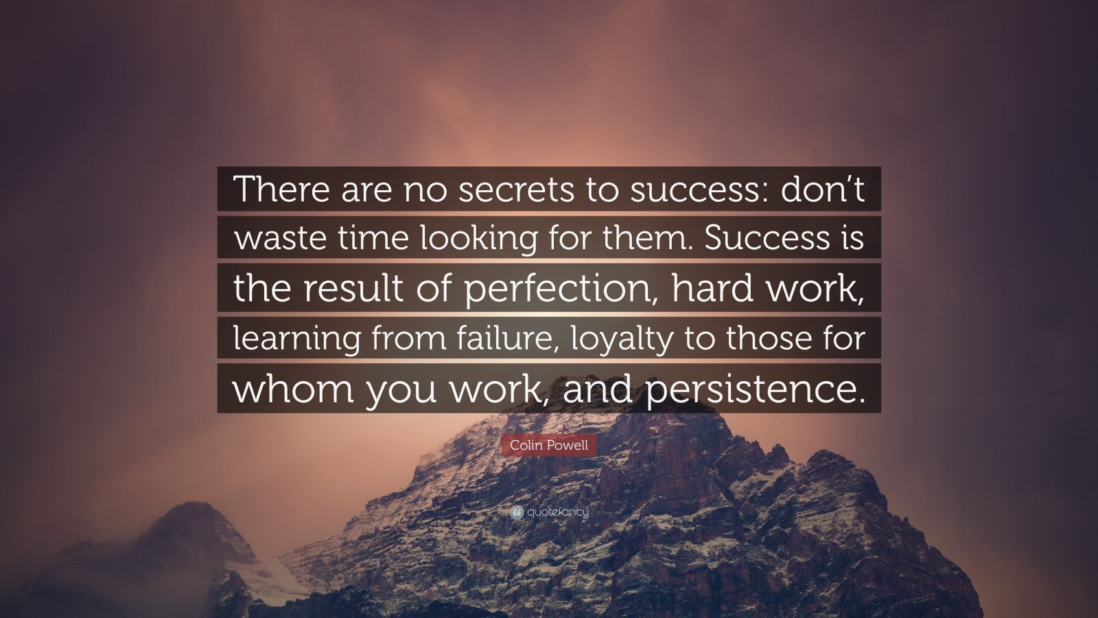 "Colin Powell Quote: ""There are no secrets to success: don't waste time looking for them. Success is the result of perfection, hard work, learning from failure, loyalty to those for whom you work, and persistence."""