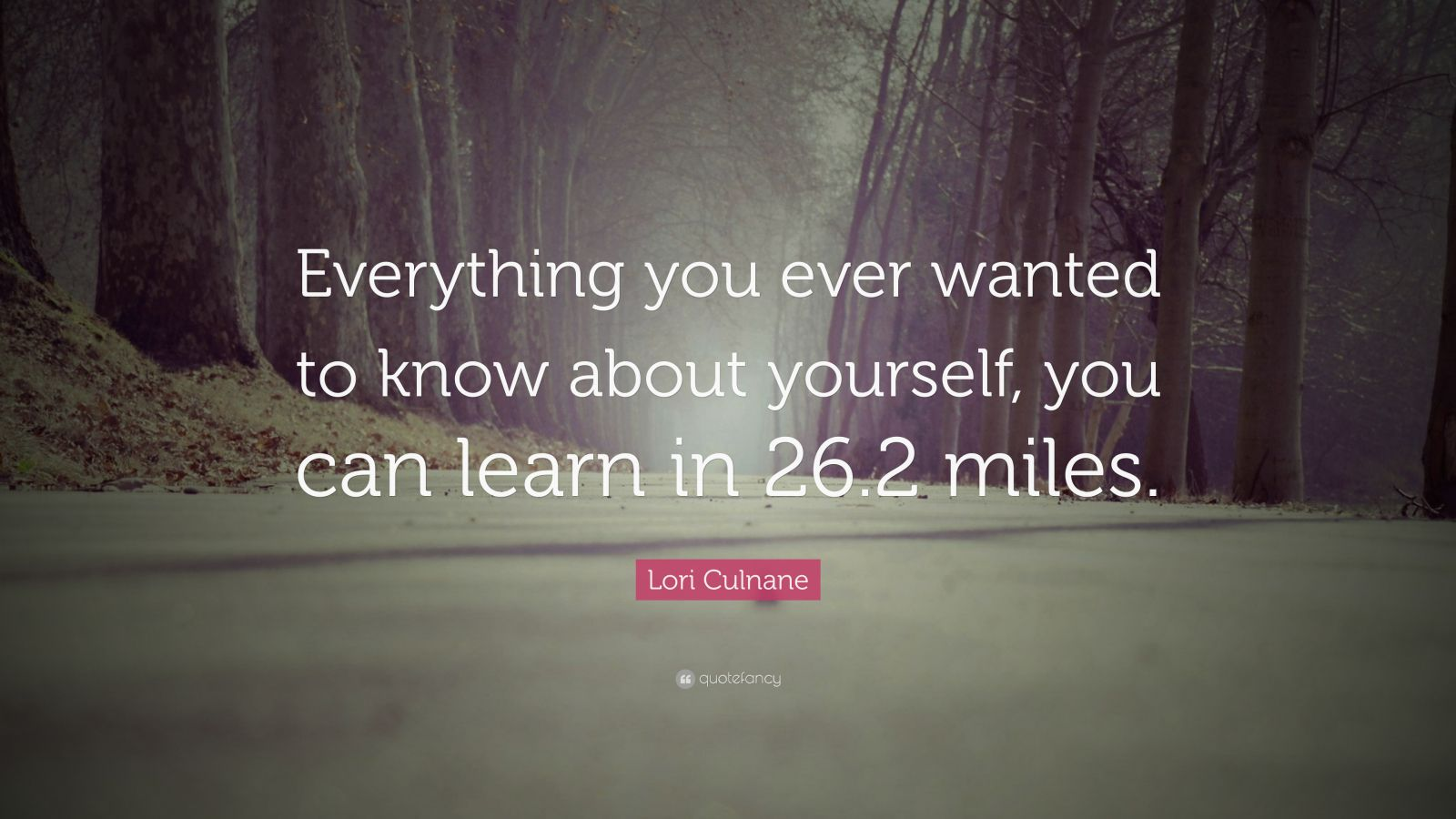 "Lori Culnane Quote: ""Everything you ever wanted to know about yourself, you can learn in 26.2 miles."""