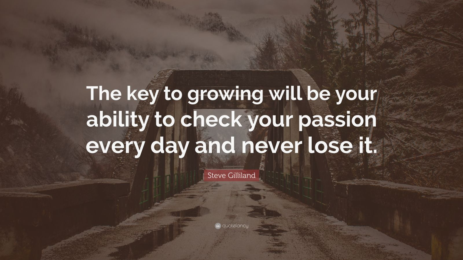 """Steve Gilliland Quote: """"The key to growing will be your ability to check your passion every day and never lose it."""""""