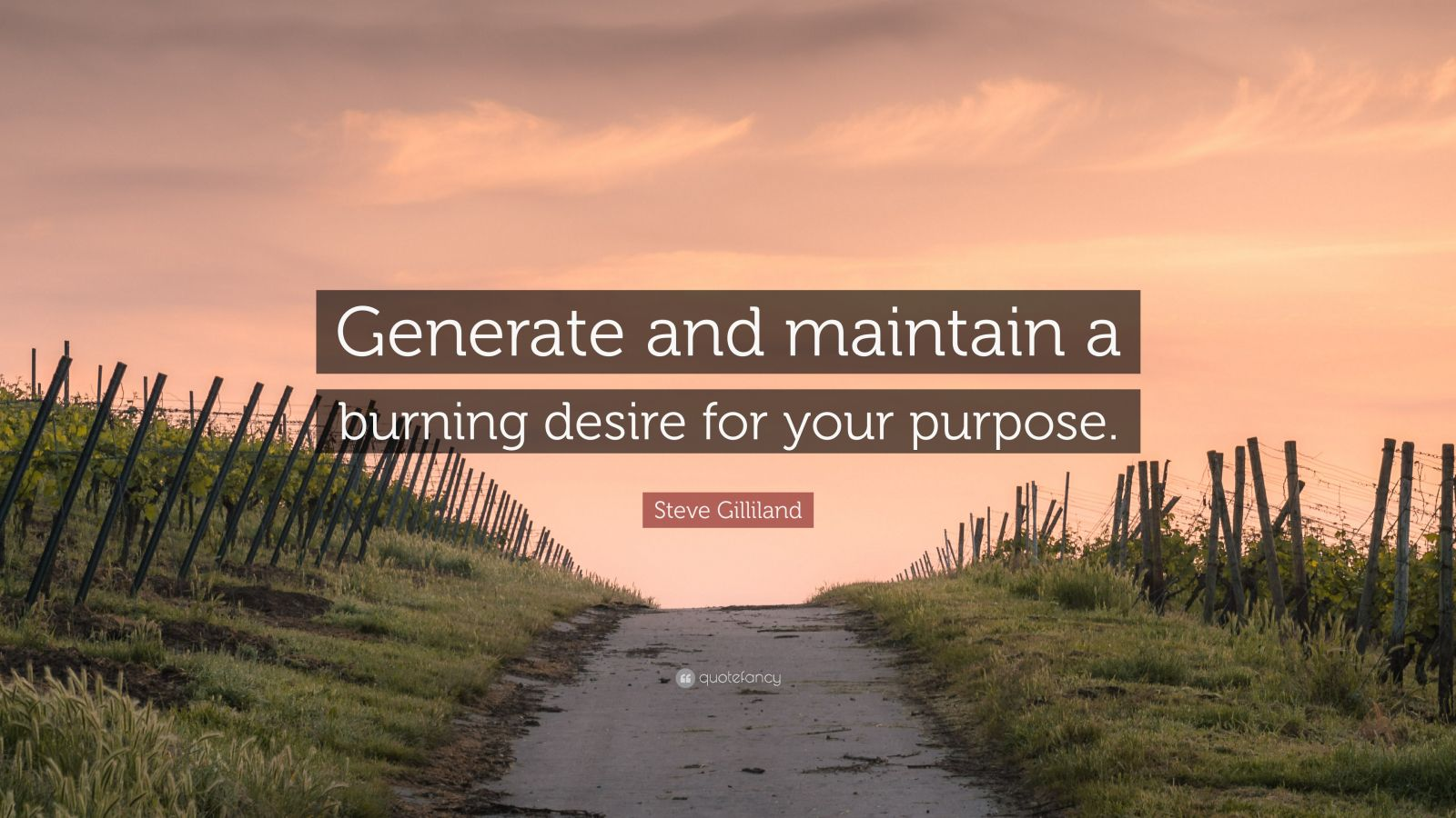 """Steve Gilliland Quote: """"Generate and maintain a burning desire for your purpose."""""""