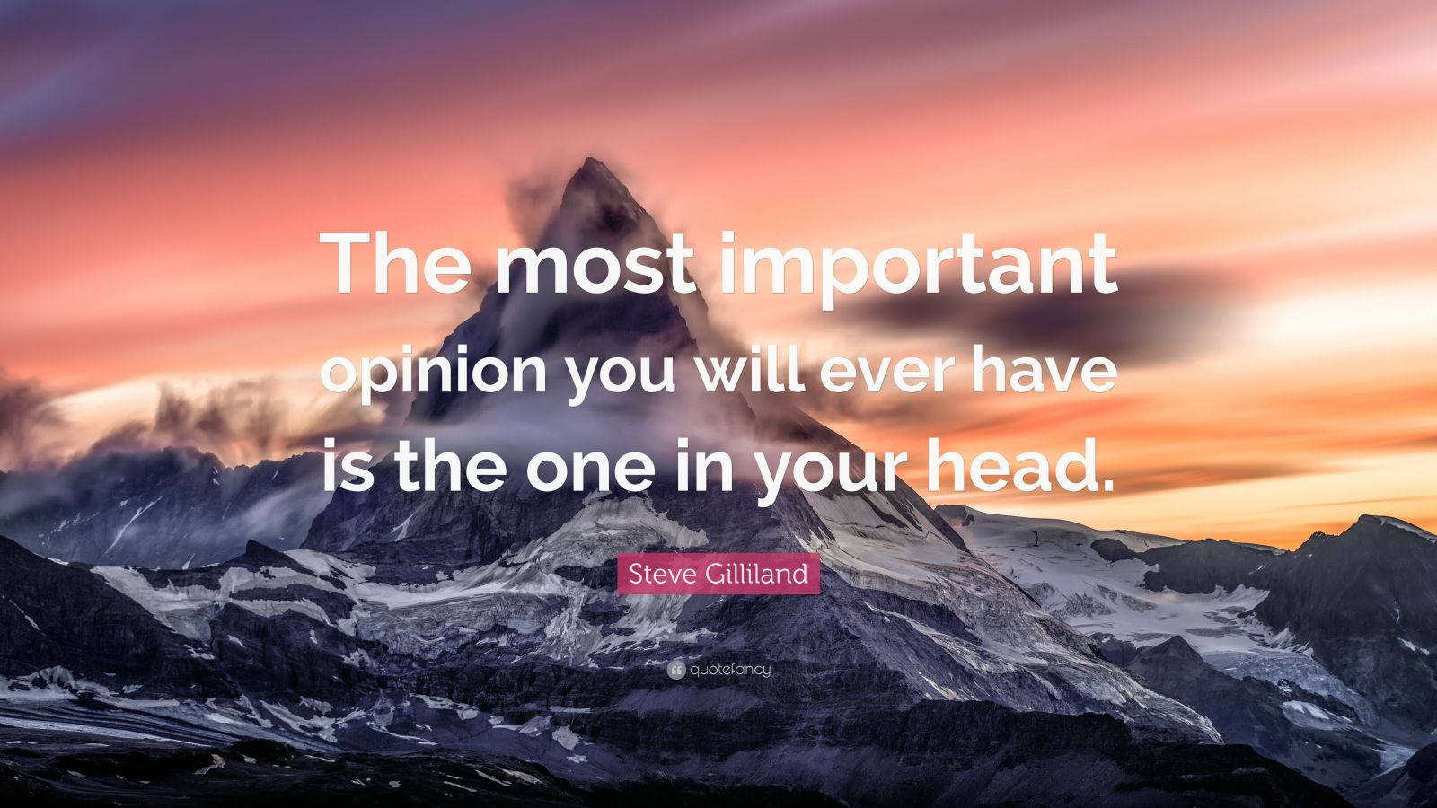 "Steve Gilliland Quote: ""The most important opinion you will ever have is the one in your head."""