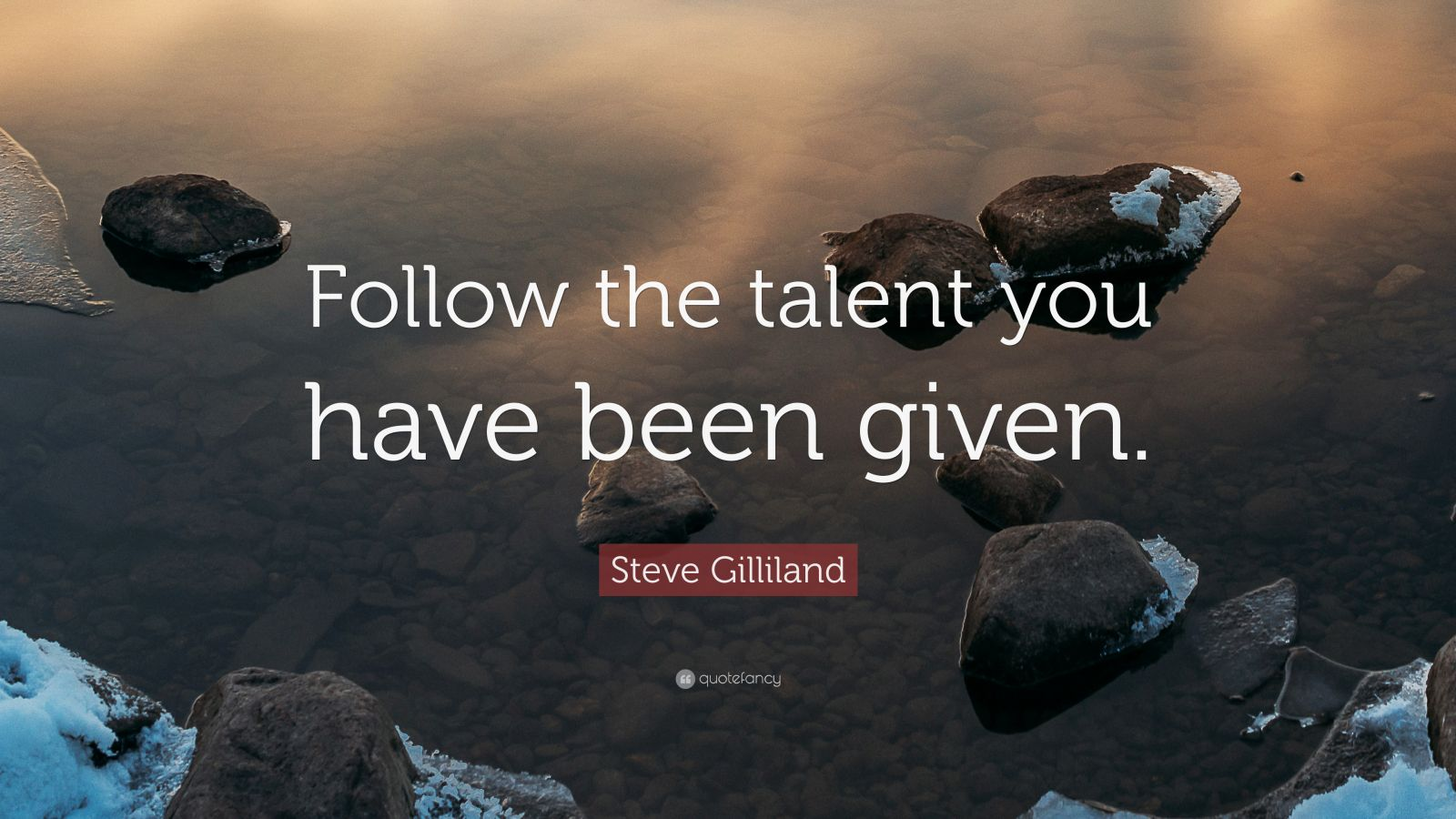 """Steve Gilliland Quote: """"Follow the talent you have been given."""""""