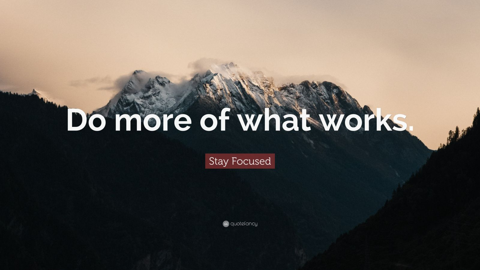 """Stay Focused Quote: """"Do more of what works."""""""