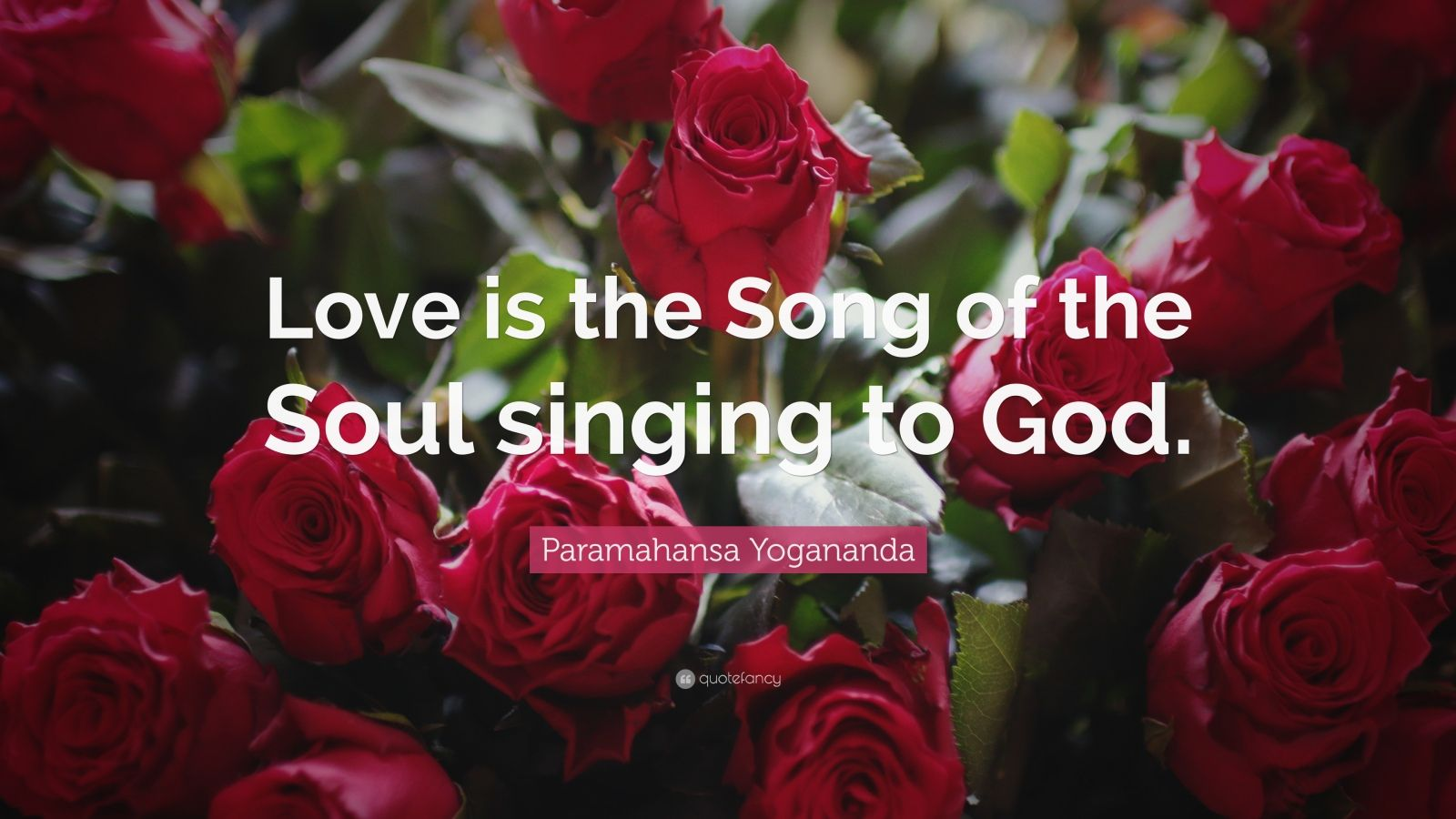 """Paramahansa Yogananda Quote: """"Love is the Song of the Soul singing to God."""""""