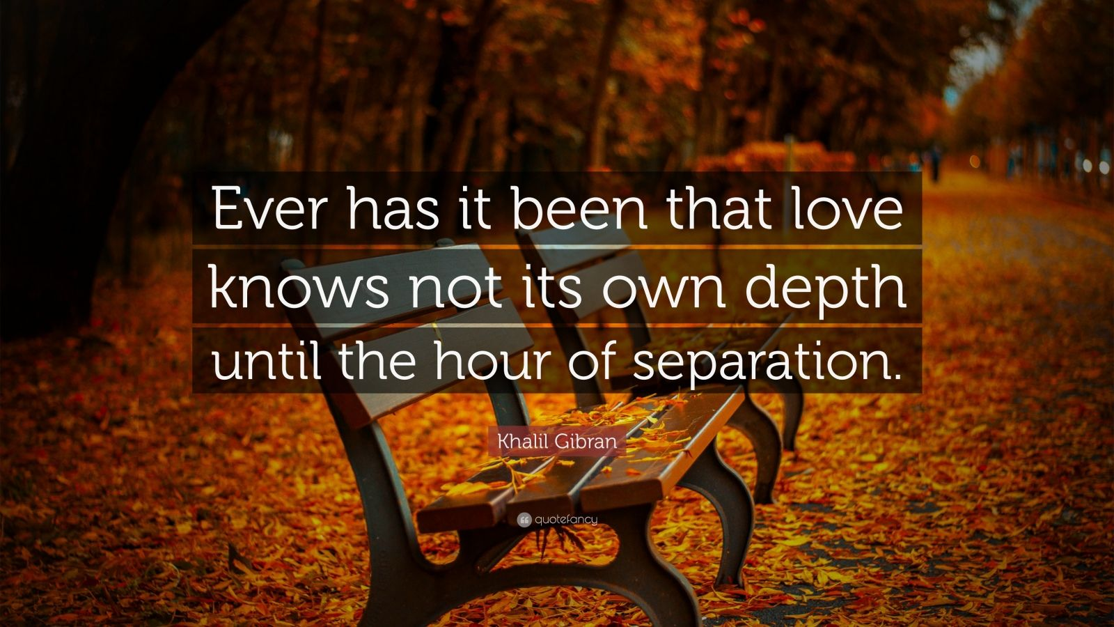 """Khalil Gibran Quote: """"Ever has it been that love knows not its own depth until the hour of separation."""""""