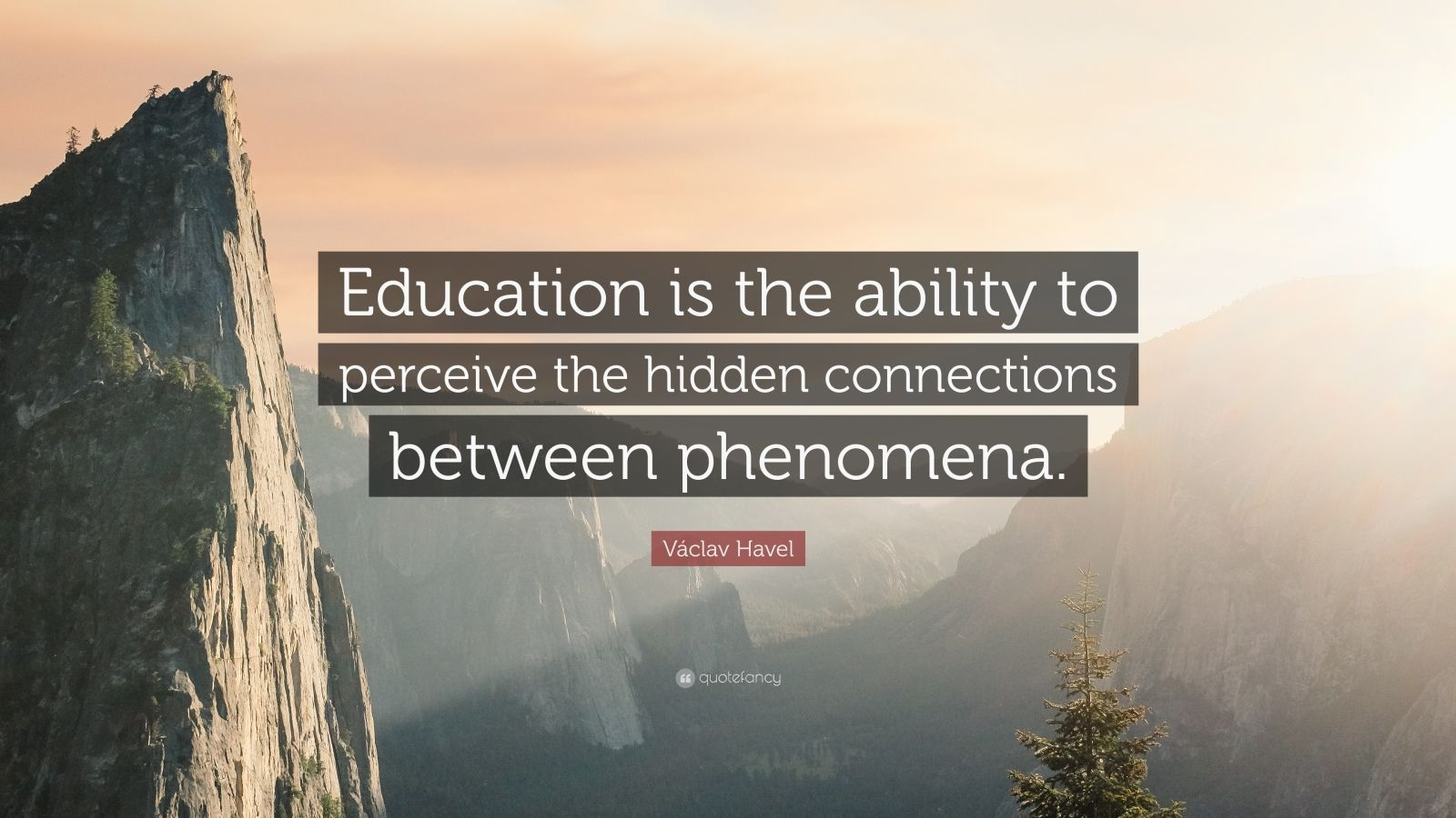 """Václav Havel Quote: """"Education is the ability to perceive the hidden connections between phenomena."""""""