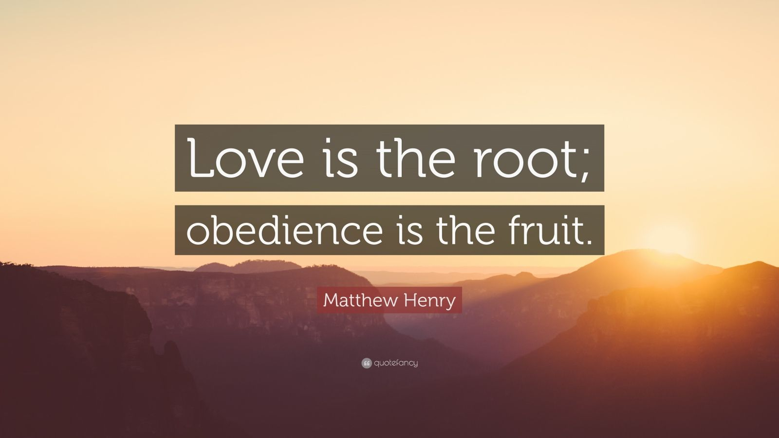 "Matthew Henry Quote: ""Love is the root; obedience is the fruit."""