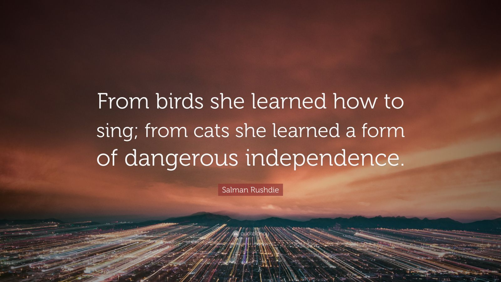 "Salman Rushdie Quote: ""From birds she learned how to sing; from cats she learned a form of dangerous independence."""