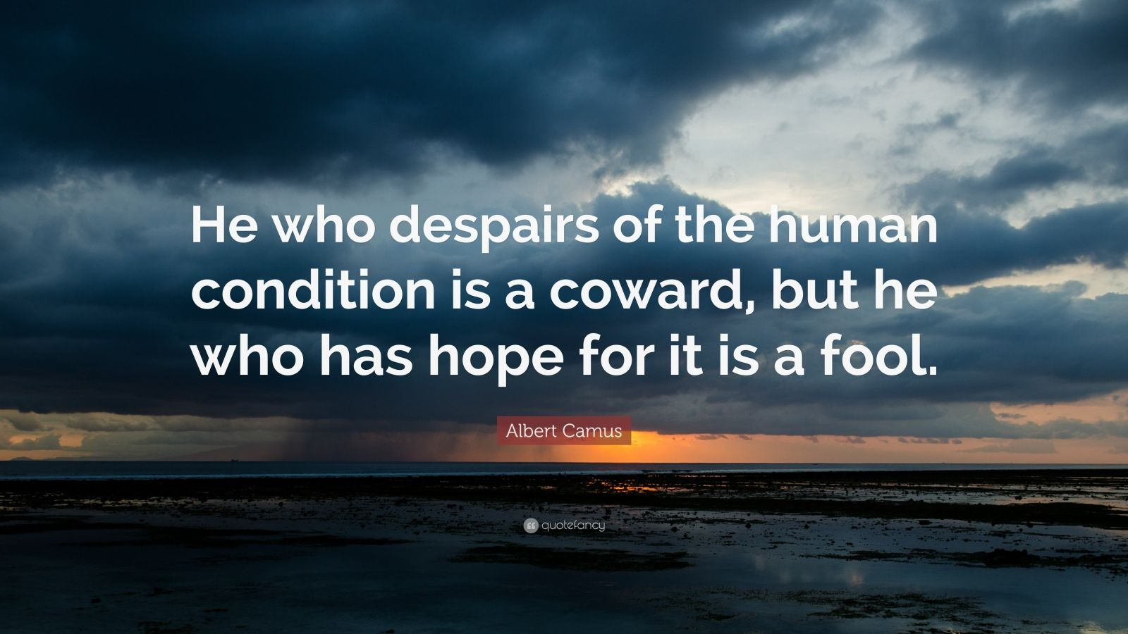 """Albert Camus Quote: """"He who despairs of the human condition is a coward, but he who has hope for it is a fool."""""""
