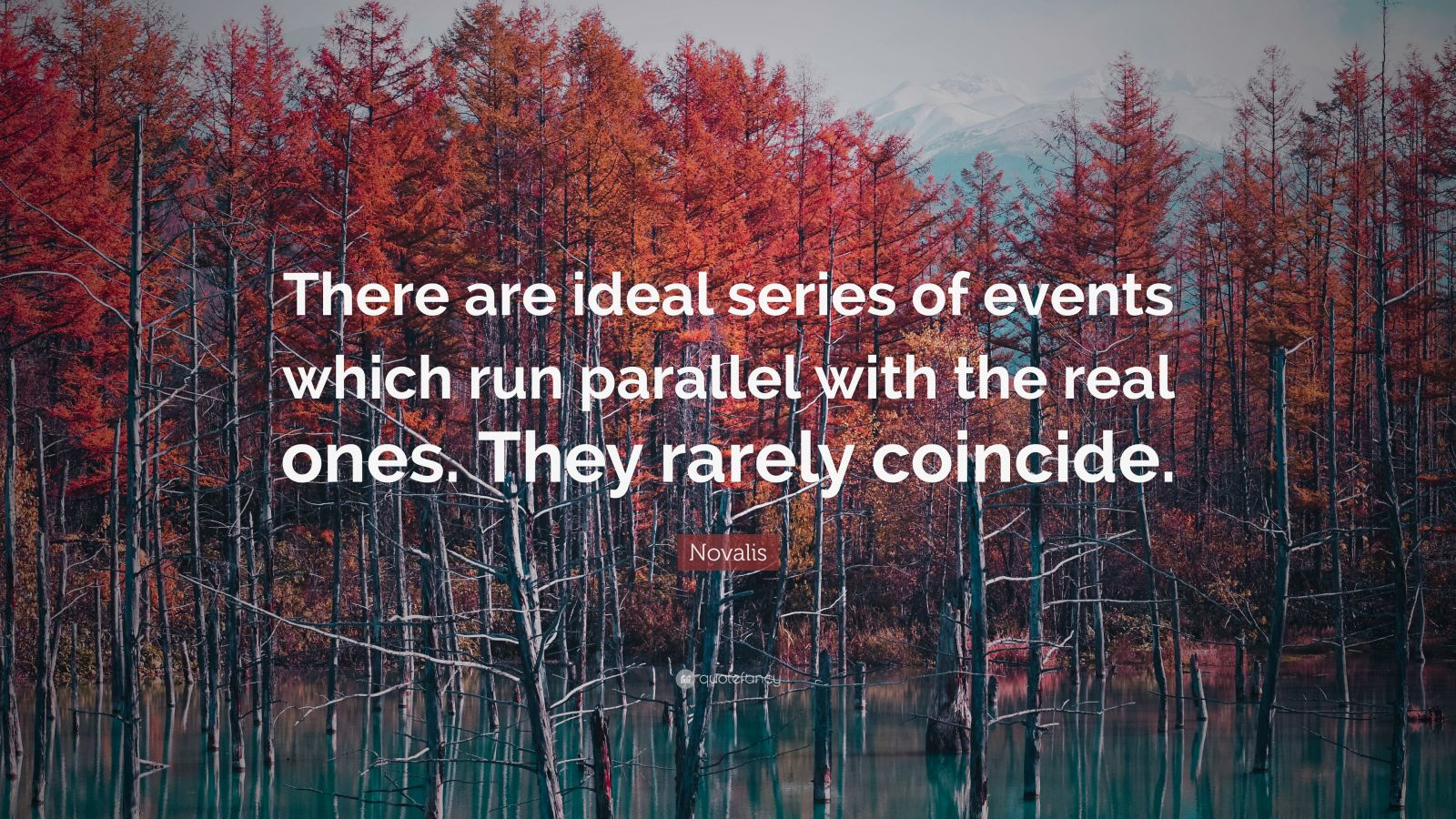 "Novalis Quote: ""There are ideal series of events which run parallel with the real ones. They rarely coincide."""