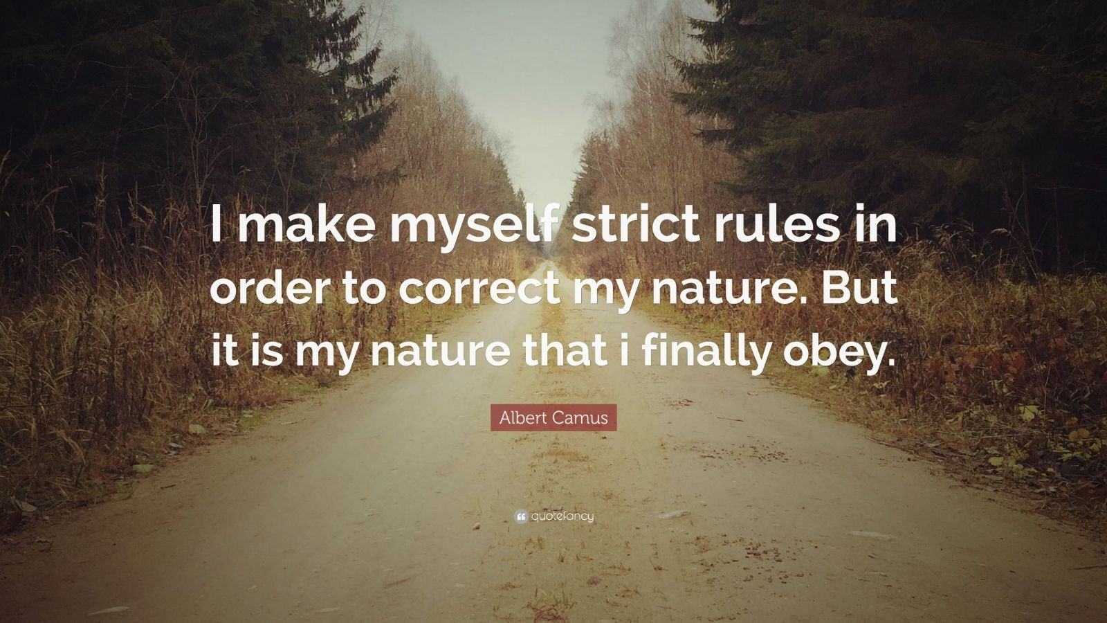 """Albert Camus Quote: """"I make myself strict rules in order to correct my nature. But it is my nature that i finally obey."""""""