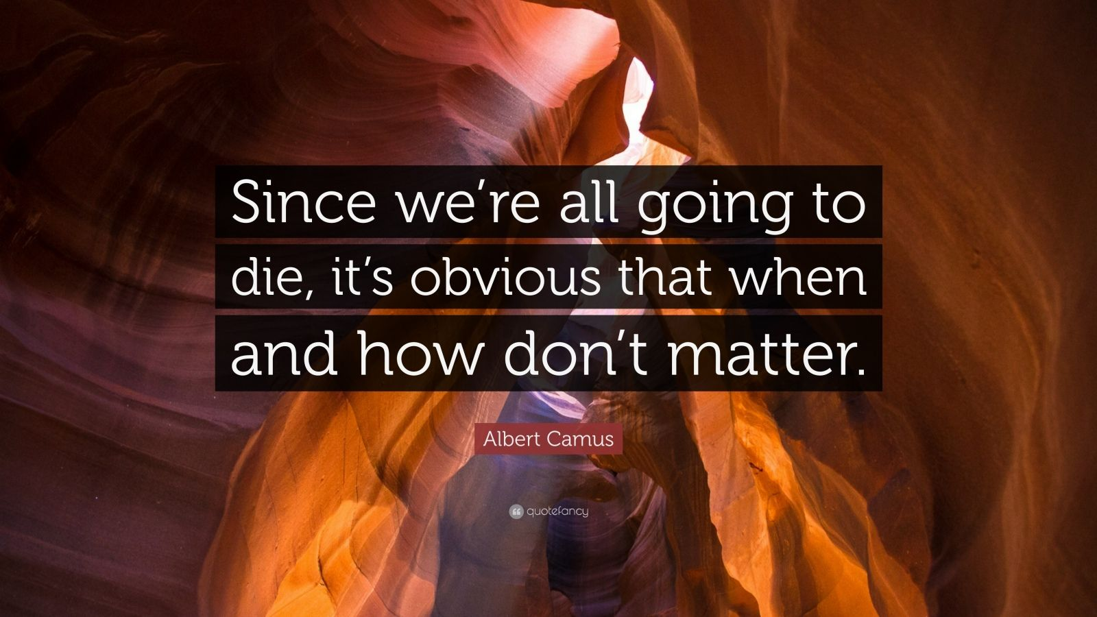 "Albert Camus Quote: ""Since we're all going to die, it's obvious that when and how don't matter."""