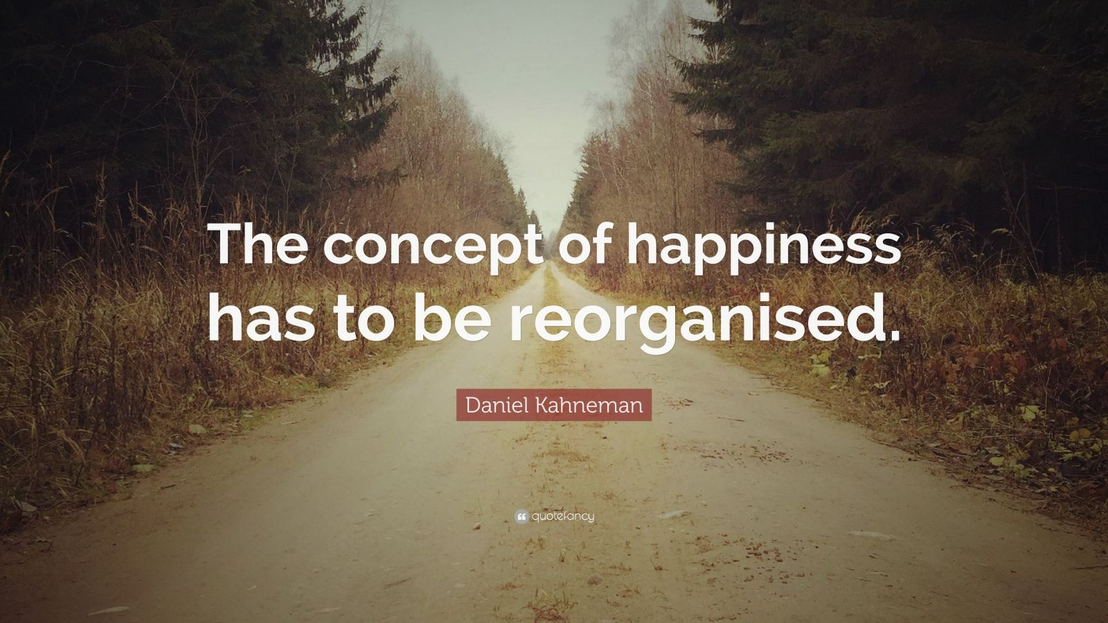 "Daniel Kahneman Quote: ""The concept of happiness has to be reorganised."""