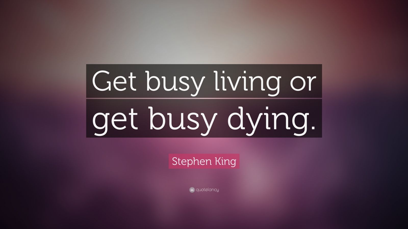Stephen King Quote Get Busy Living Or Get Busy Dying