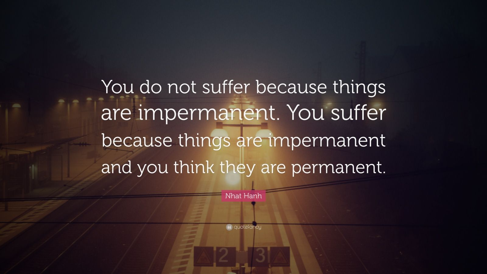 """Nhat Hanh Quote: """"You do not suffer because things are impermanent. You suffer because things are impermanent and you think they are permanent."""""""