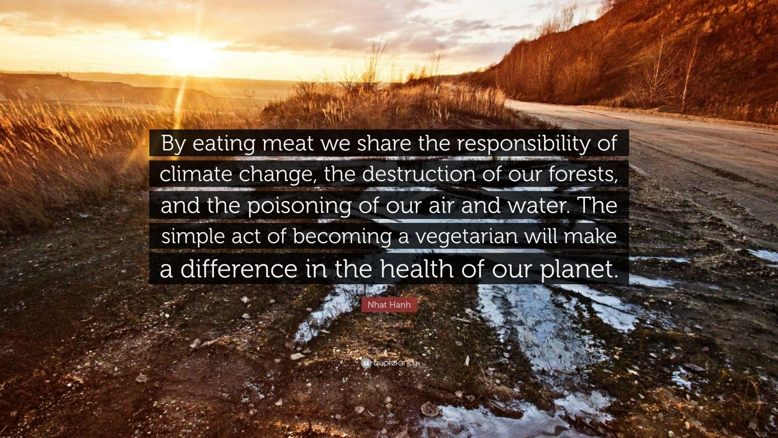"Nhat Hanh Quote: ""By eating meat we share the responsibility of climate change, the destruction of our forests, and the poisoning of our air and water. The simple act of becoming a vegetarian will make a difference in the health of our planet."""