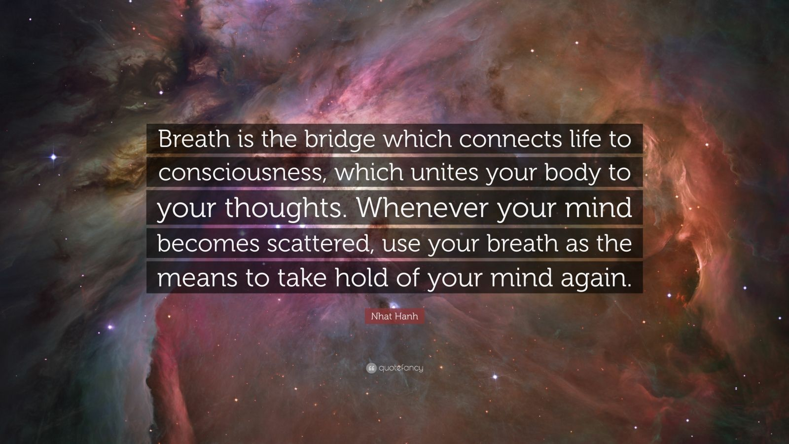 "Nhat Hanh Quote: ""Breath is the bridge which connects life to consciousness, which unites your body to your thoughts. Whenever your mind becomes scattered, use your breath as the means to take hold of your mind again."""