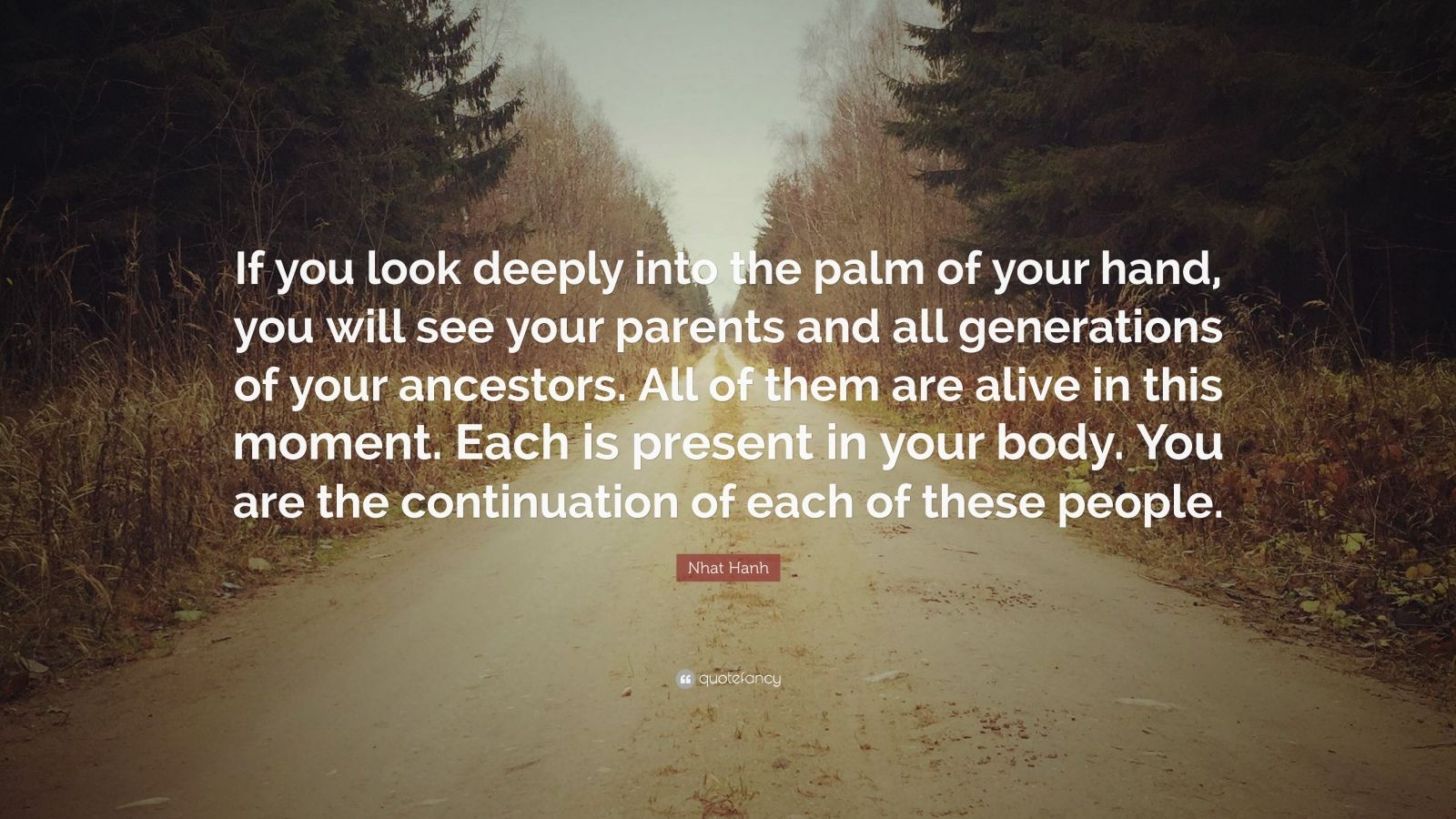 """Nhat Hanh Quote: """"If you look deeply into the palm of your hand, you will see your parents and all generations of your ancestors. All of them are alive in this moment. Each is present in your body. You are the continuation of each of these people."""""""