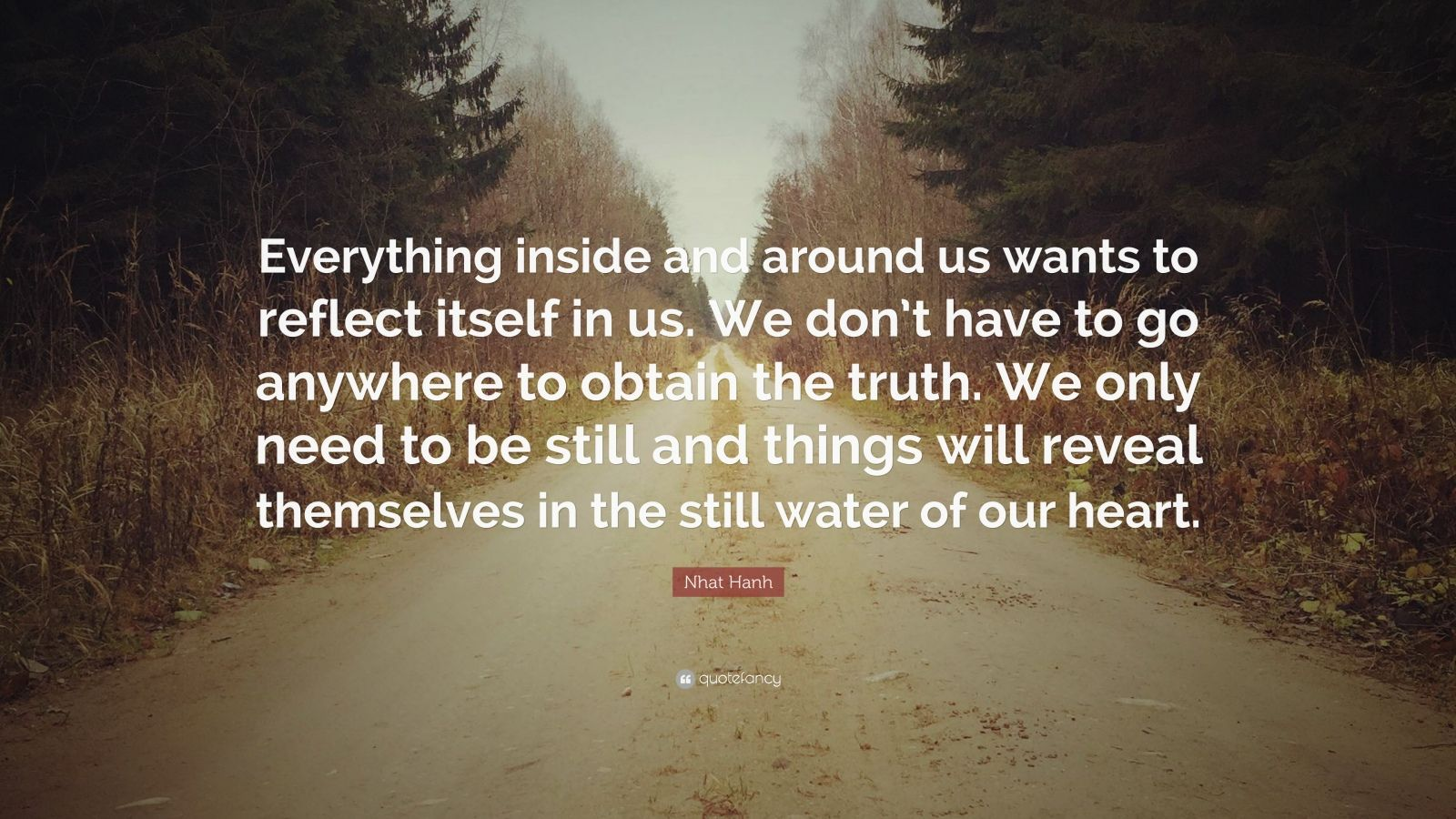 """Nhat Hanh Quote: """"Everything inside and around us wants to reflect itself in us. We don't have to go anywhere to obtain the truth. We only need to be still and things will reveal themselves in the still water of our heart."""""""