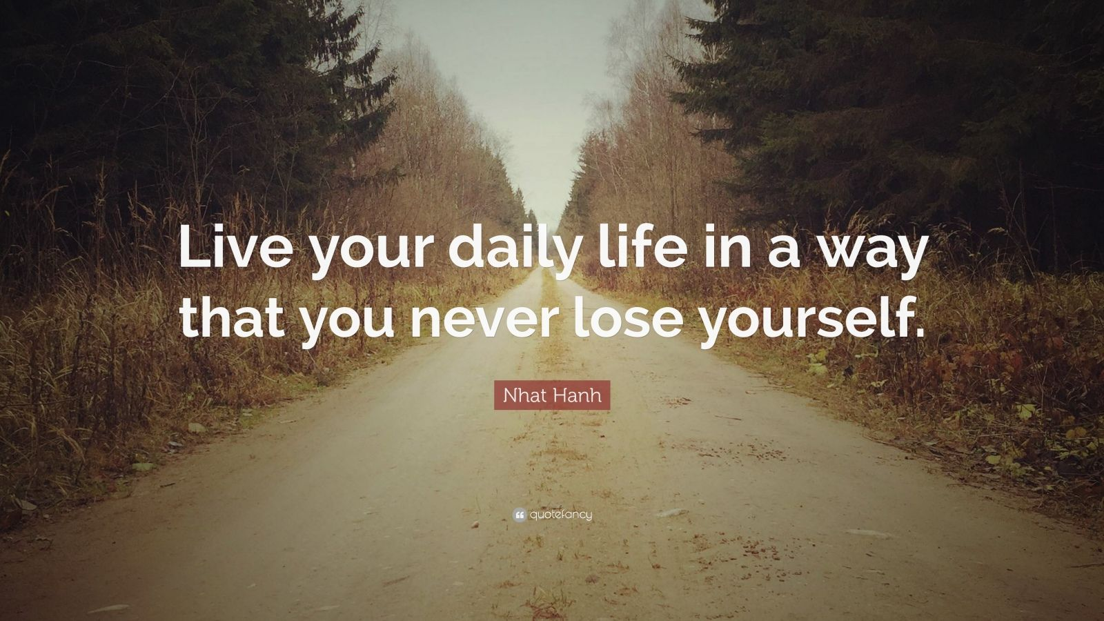 """Nhat Hanh Quote: """"Live your daily life in a way that you never lose yourself."""""""