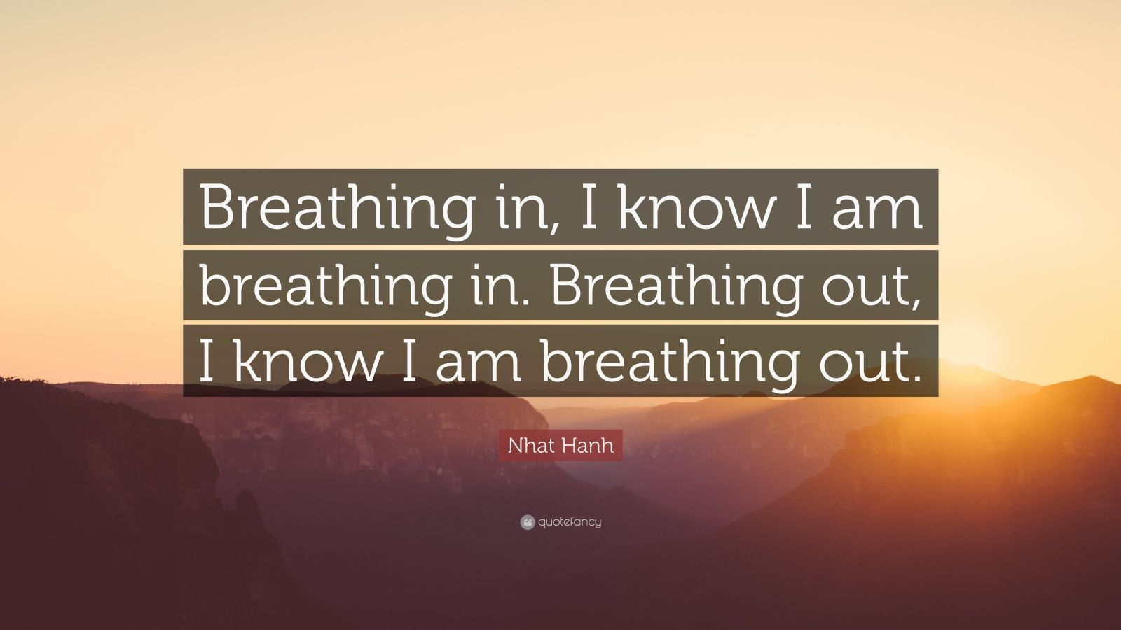 """Nhat Hanh Quote: """"Breathing in, I know I am breathing in. Breathing out, I know I am breathing out."""""""