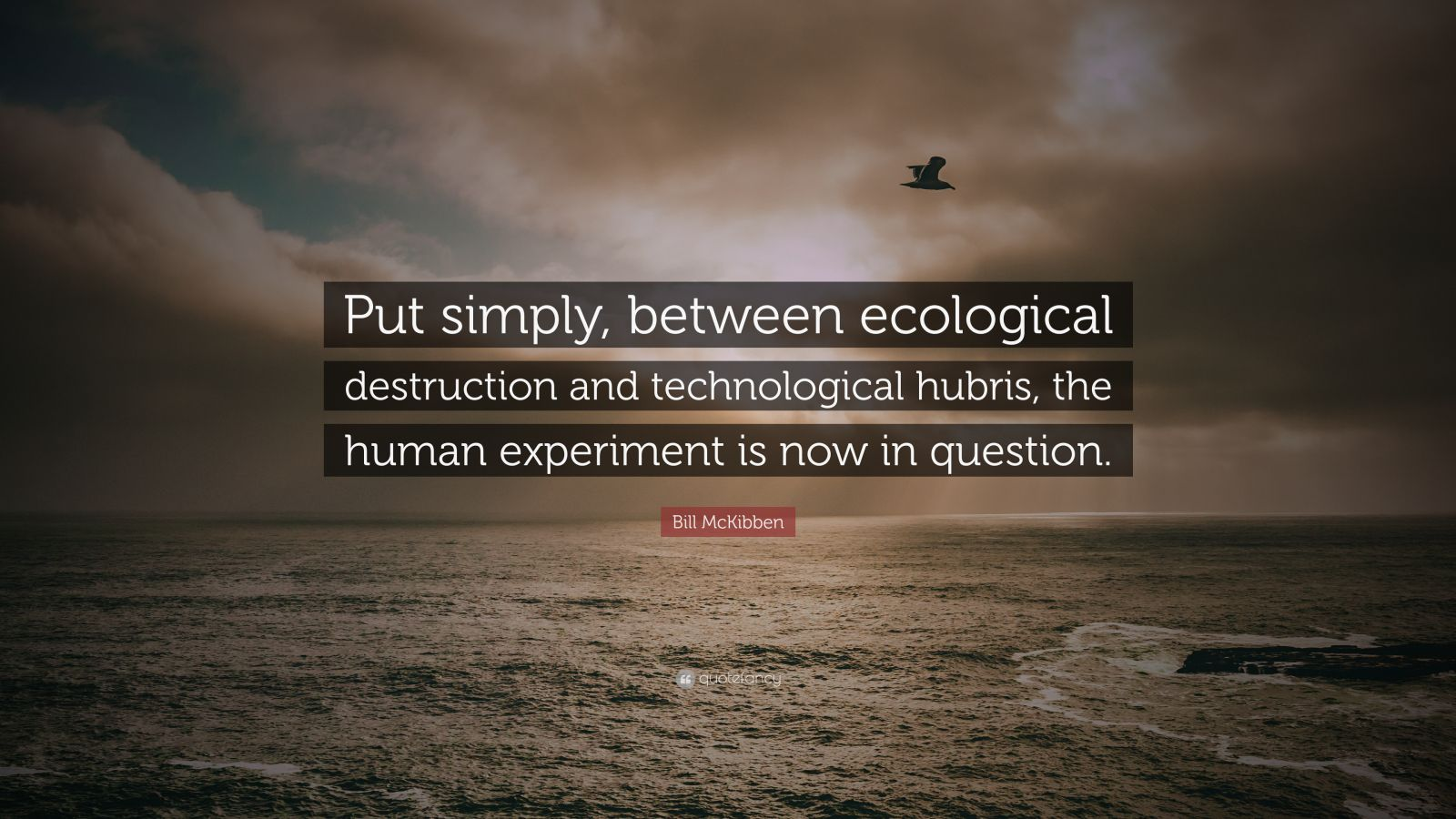 "Bill McKibben Quote: ""Put simply, between ecological destruction and technological hubris, the human experiment is now in question."""