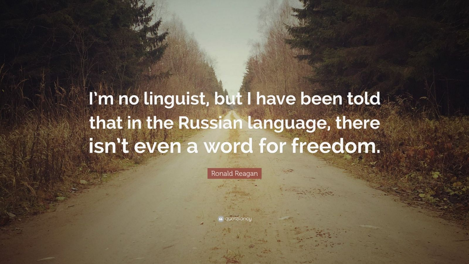 """Ronald Reagan Quote: """"I'm no linguist, but I have been told that in the Russian language, there isn't even a word for freedom."""""""