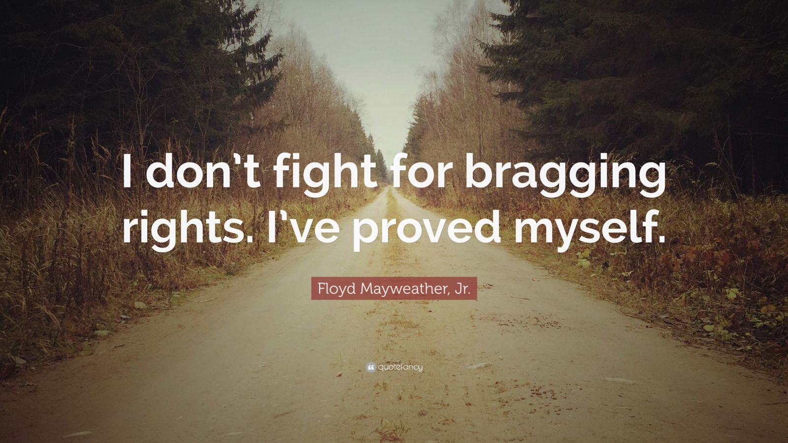 "Floyd Mayweather, Jr. Quote: ""I don't fight for bragging rights. I've proved myself."""