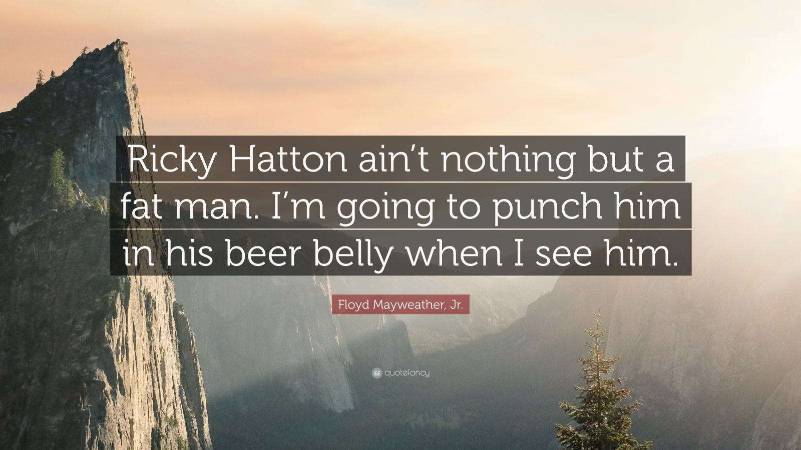 """Floyd Mayweather, Jr. Quote: """"Ricky Hatton ain't nothing but a fat man. I'm going to punch him in his beer belly when I see him."""""""