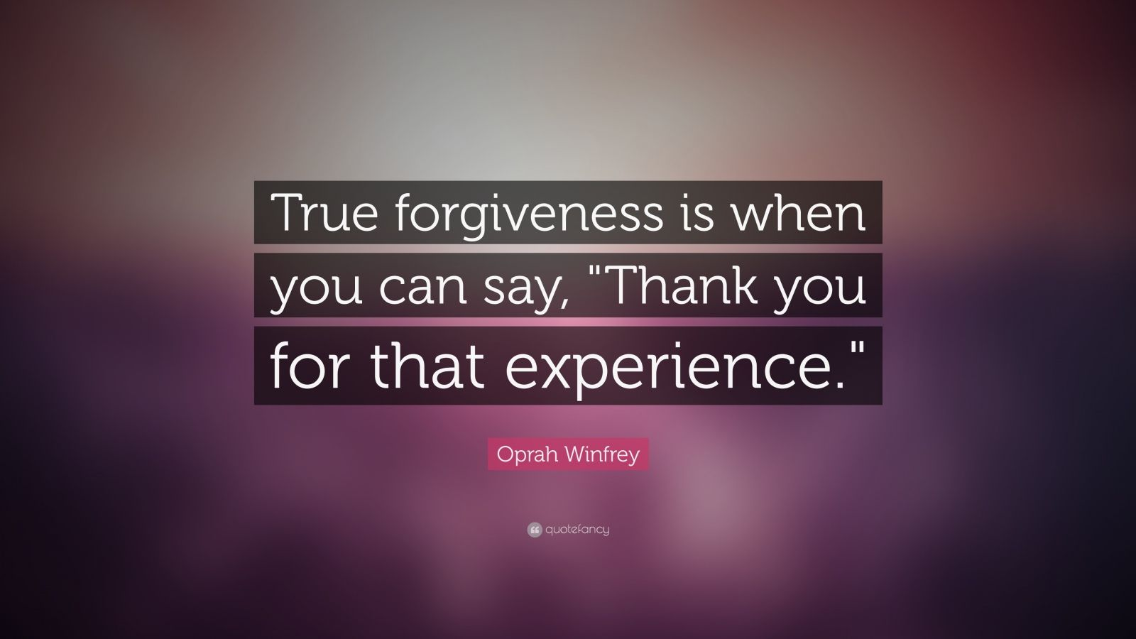 "Oprah Winfrey Quote: ""True forgiveness is when you can say, ""Thank you for that experience."""""