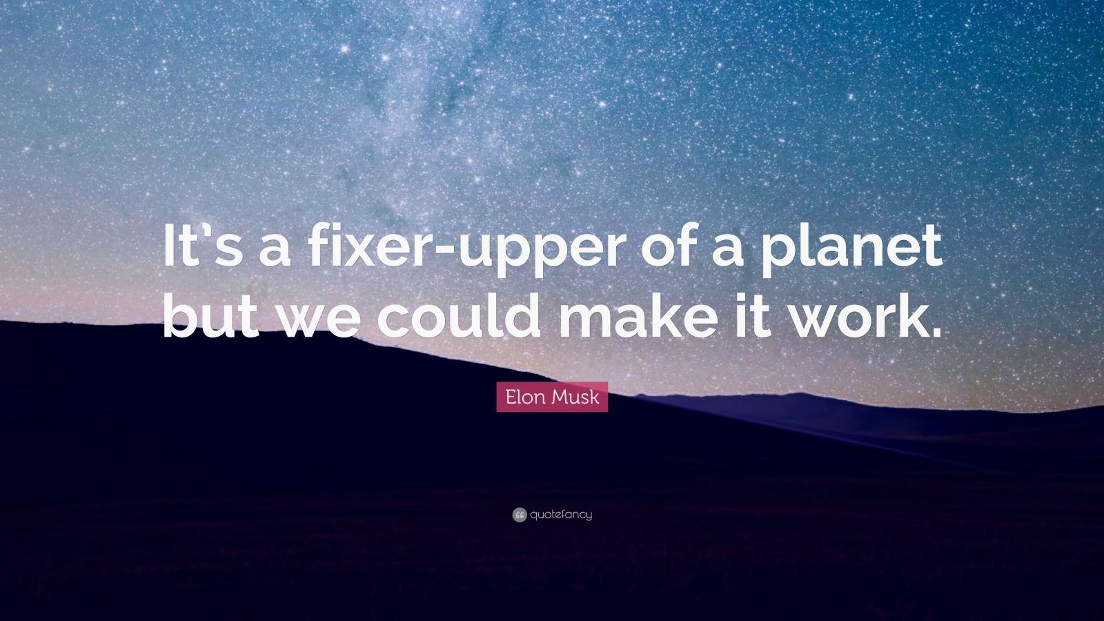 "Elon Musk Quote: ""It's a fixer-upper of a planet but we could make it work."""