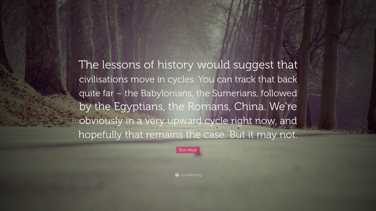 """Elon Musk Quote: """"The lessons of history would suggest that civilisations move in cycles. You can track that back quite far – the Babylonians, the Sumerians, followed by the Egyptians, the Romans, China. We're obviously in a very upward cycle right now, and hopefully that remains the case. But it may not."""""""