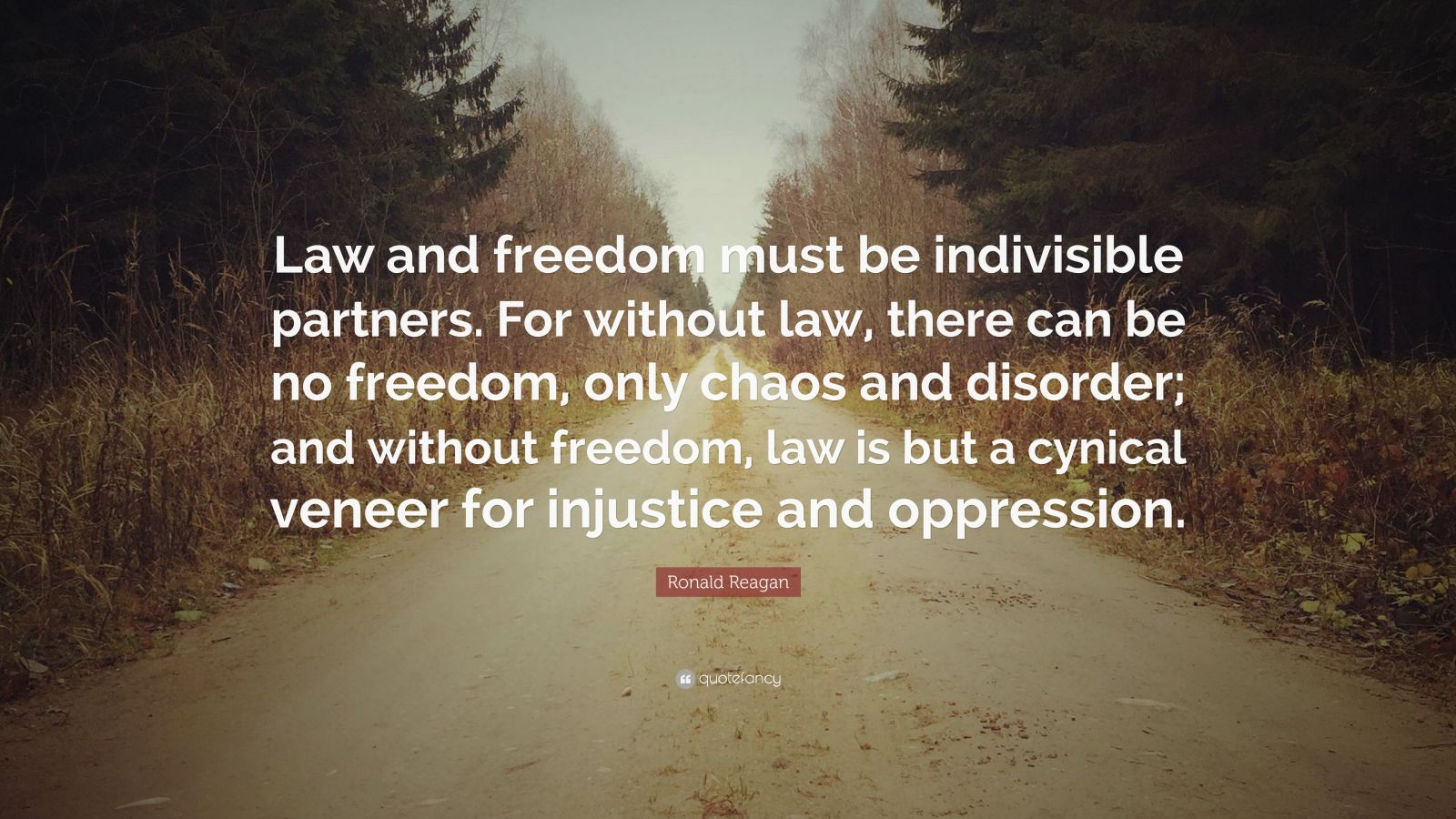 """Ronald Reagan Quote: """"Law and freedom must be indivisible partners. For without law, there can be no freedom, only choas and disorder; and without freedom, law is but a cynical veneer for injustice and oppression."""""""