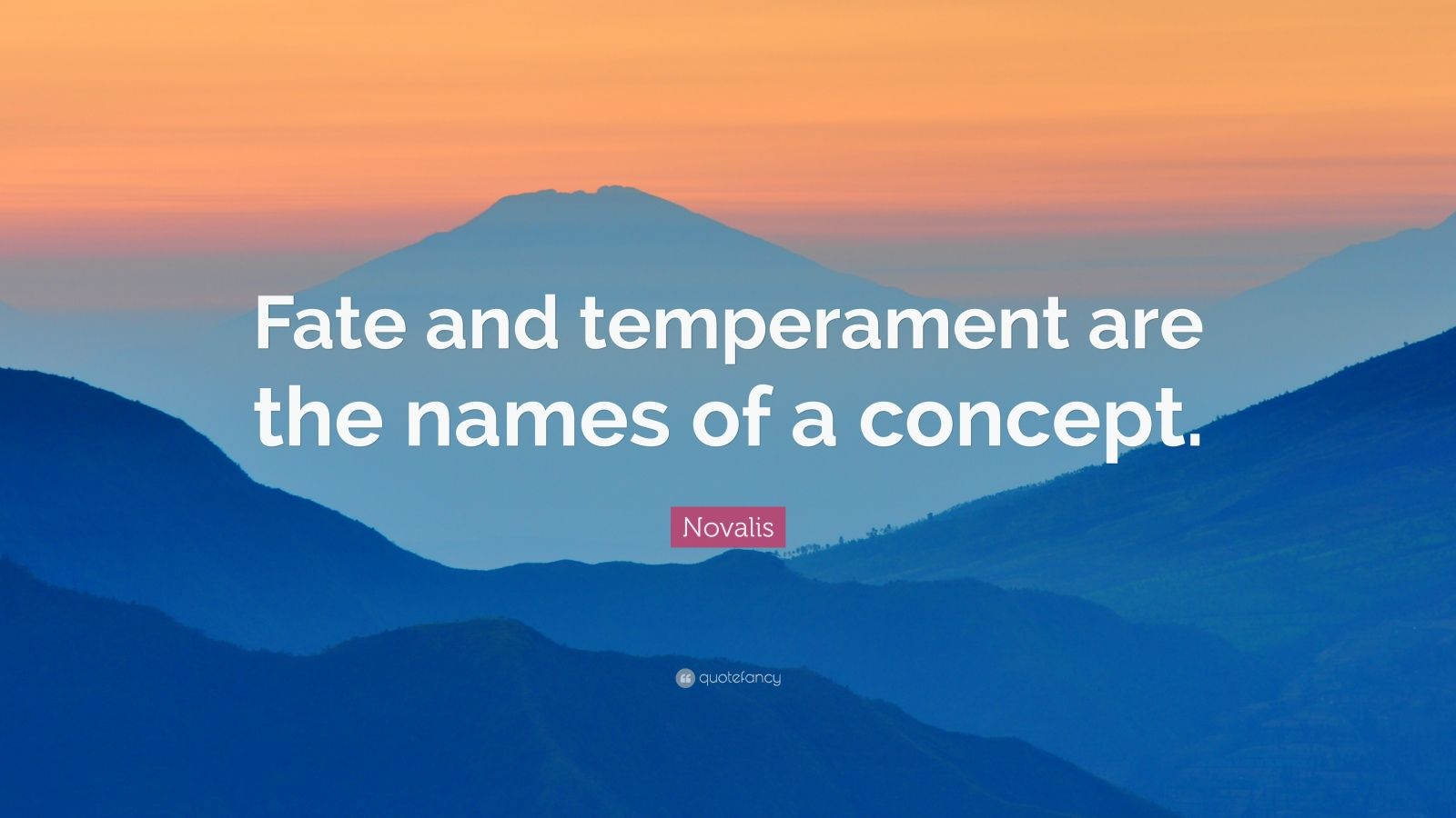"""Novalis Quote: """"Fate and temperament are the names of a concept."""""""