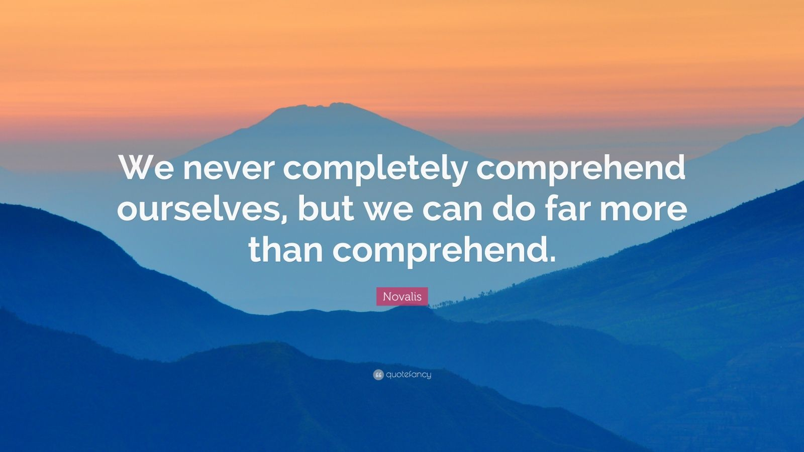 """Novalis Quote: """"We never completely comprehend ourselves, but we can do far more than comprehend."""""""