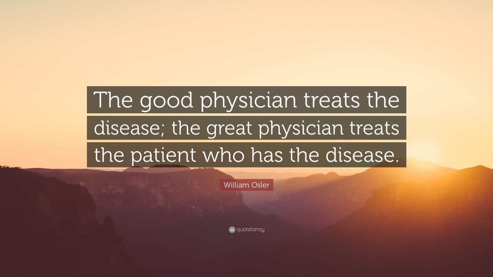 "William Osler Quote: ""The good physician treats the disease; the great physician treats the patient who has the disease."""