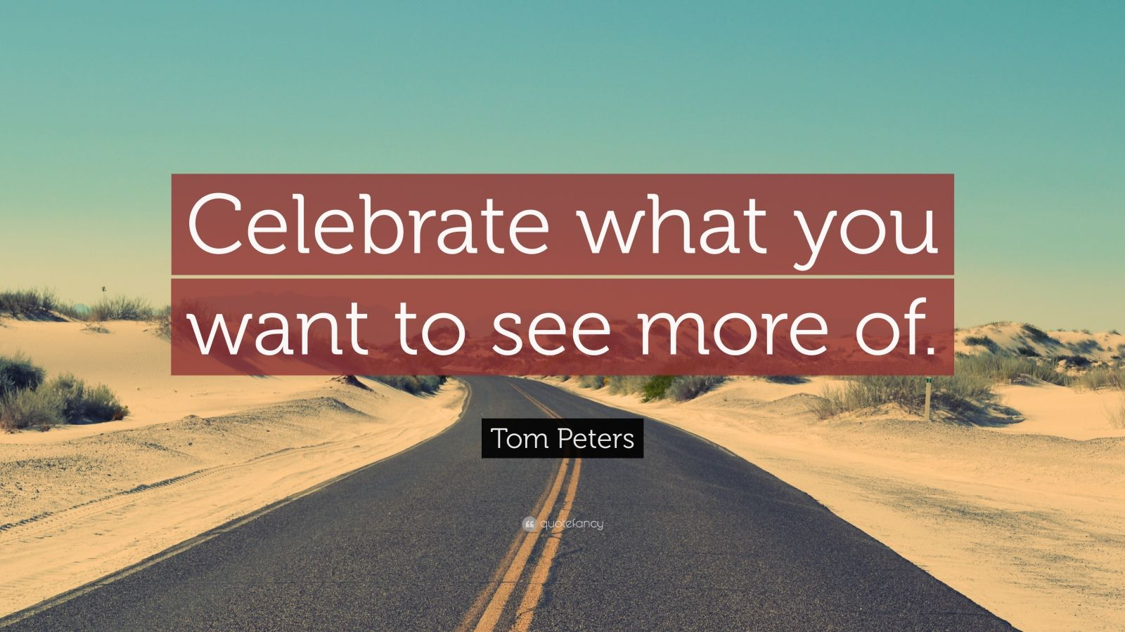 """Tom Peters Quote: """"Celebrate what you want to see more of."""""""