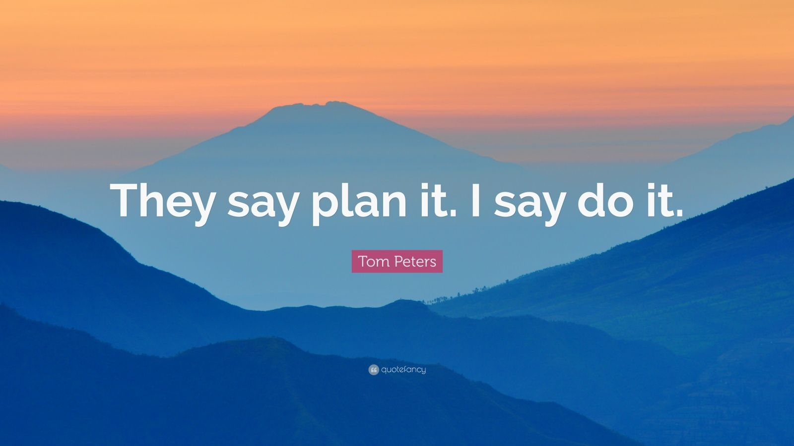 "Tom Peters Quote: ""They say plan it. I say do it."""