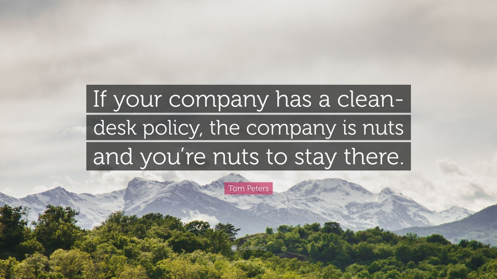 """Tom Peters Quote: """"If your company has a clean-desk policy, the company is nuts and you're nuts to stay there."""""""