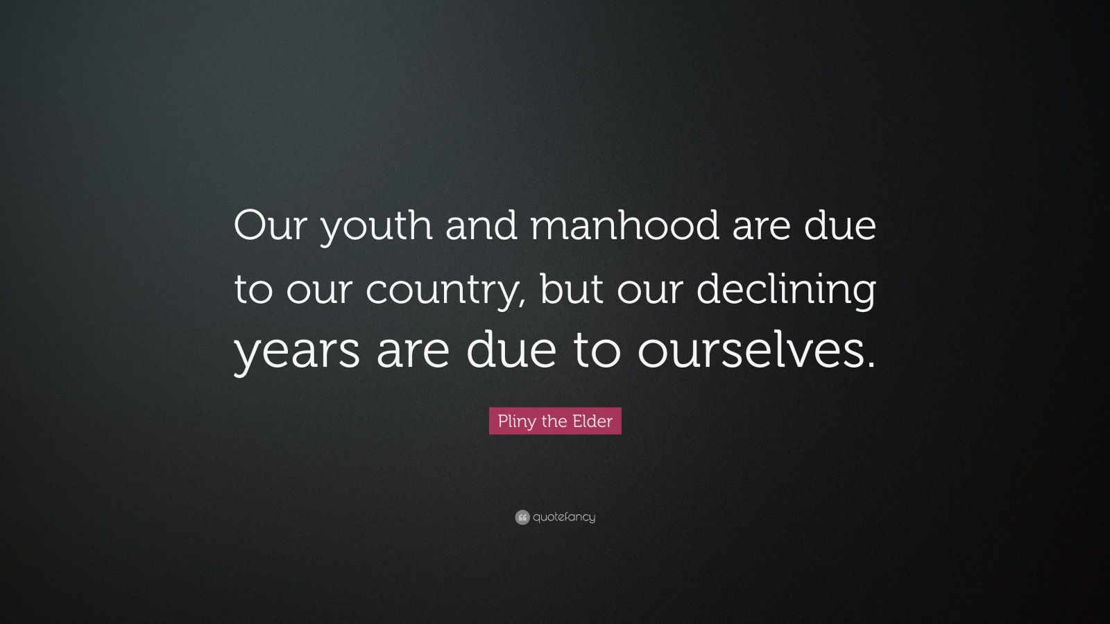 """Pliny The Elder Quotes: Pliny The Elder Quote: """"Our Youth And Manhood Are Due To"""